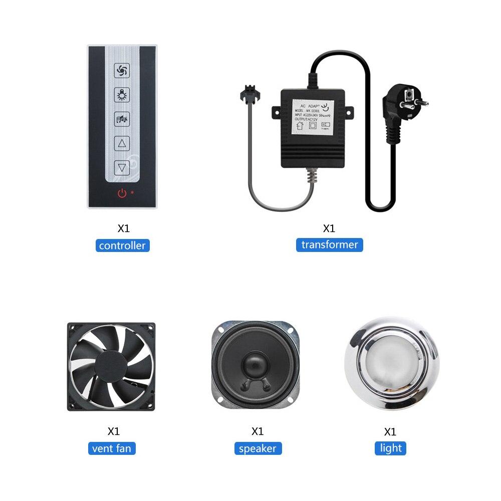 1 set Black Induction Key Shower Controller Kit Speaker Light FM Radio Vent Fan Control Panel Transformer for Shower Cabin