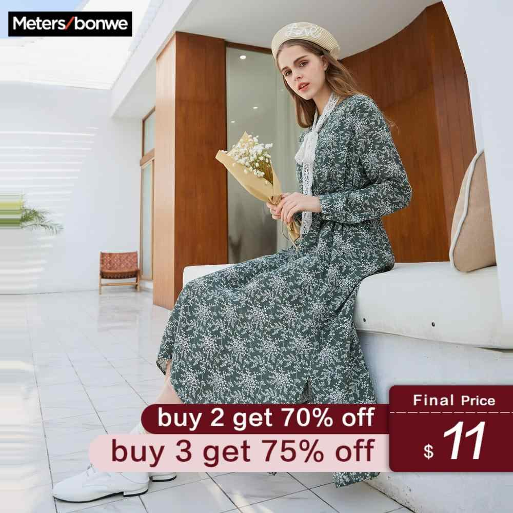 Metersbonwe brand chiffon dresses for women spring new floral dresses