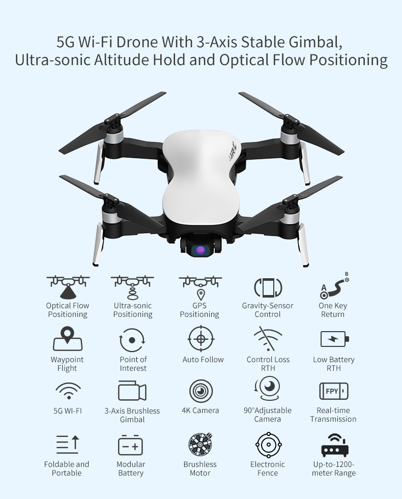JJRC X12 RC Drone 5G WiFi FPV GPS Quadcopter with 4K HD Camera Brushless Motor 3-Axis Stable Gimbal