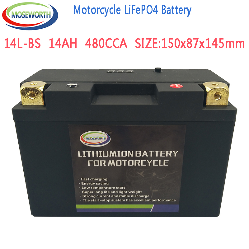 14L-BS <font><b>Motorcycle</b></font> <font><b>Battery</b></font> 12V LiFePO4 <font><b>Lithium</b></font> Phosphate ion 480CCA 14AH Size150x87x145mm <font><b>with</b></font> <font><b>BMS</b></font> Voltage Protection image