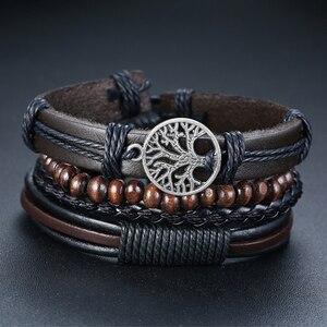 Vnox 4Pcs/ Set Braided Wrap Leather Bracelets for Men Vintage Life Tree Rudder Charm Wood Beads Ethnic Tribal Wristbands(China)