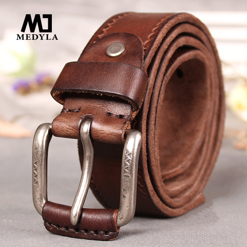 MEDYLA Retro Original Leather Belt For Men Soft And Tough Without Mezzanine Men's Belts For Jeans Men's Accessories Male Gife