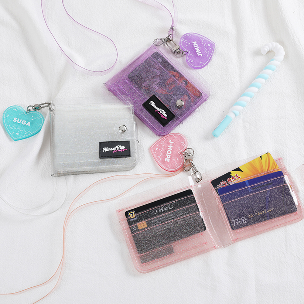 Laser PVC Card Transparent Coin Purse Women Wallet Clear Short Purse Mini Money Wallet Card Holder Bolsas Female Zipper Wallets