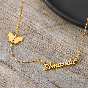 Fashion Custom Gold Chain Stainless Steel Name Necklace With Butterfly For Women Personalized Letter Choker Gift