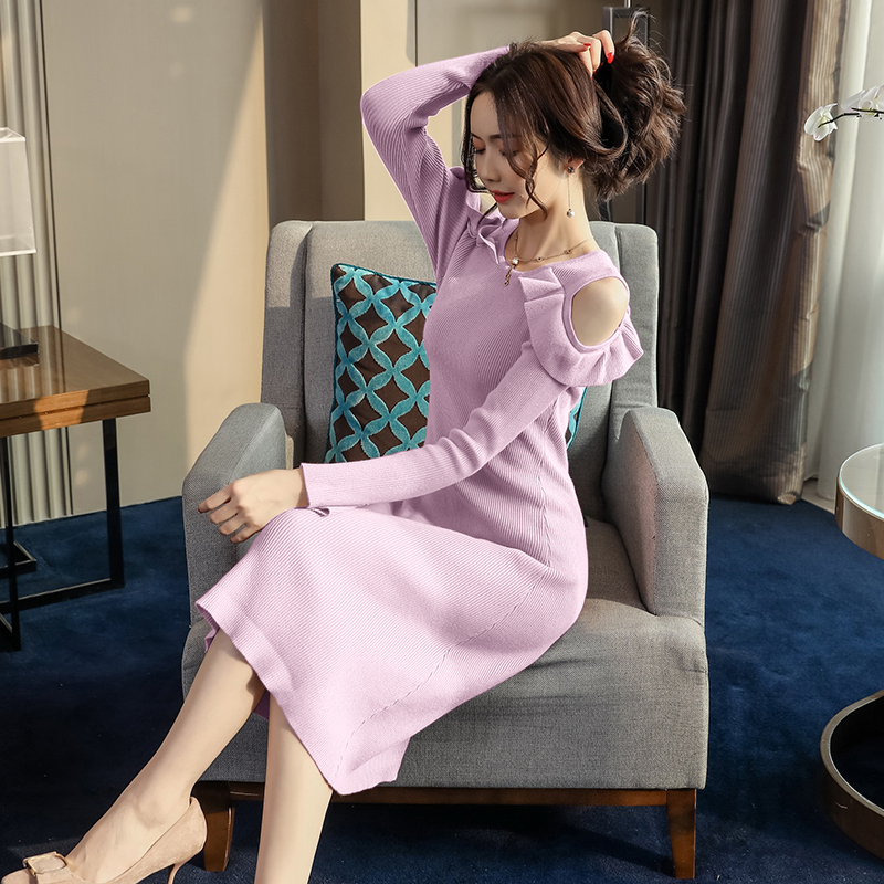 Black Off Shoulder Knitted Dress Women Chic S XL Solid Color Long Sleeve Vintage Dress Winter Autumn Elegant Ladies Dresses 2019 in Dresses from Women 39 s Clothing