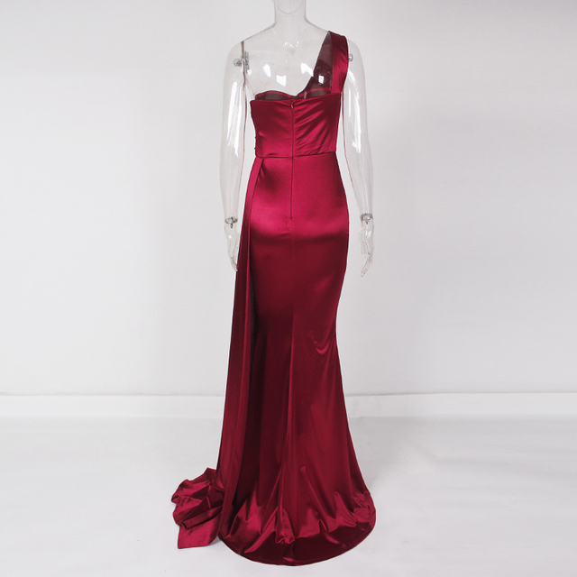 One Shoulder Sexy Brugundy Satin Maxi Dress Draped Long Evening Party Dress Gown 3