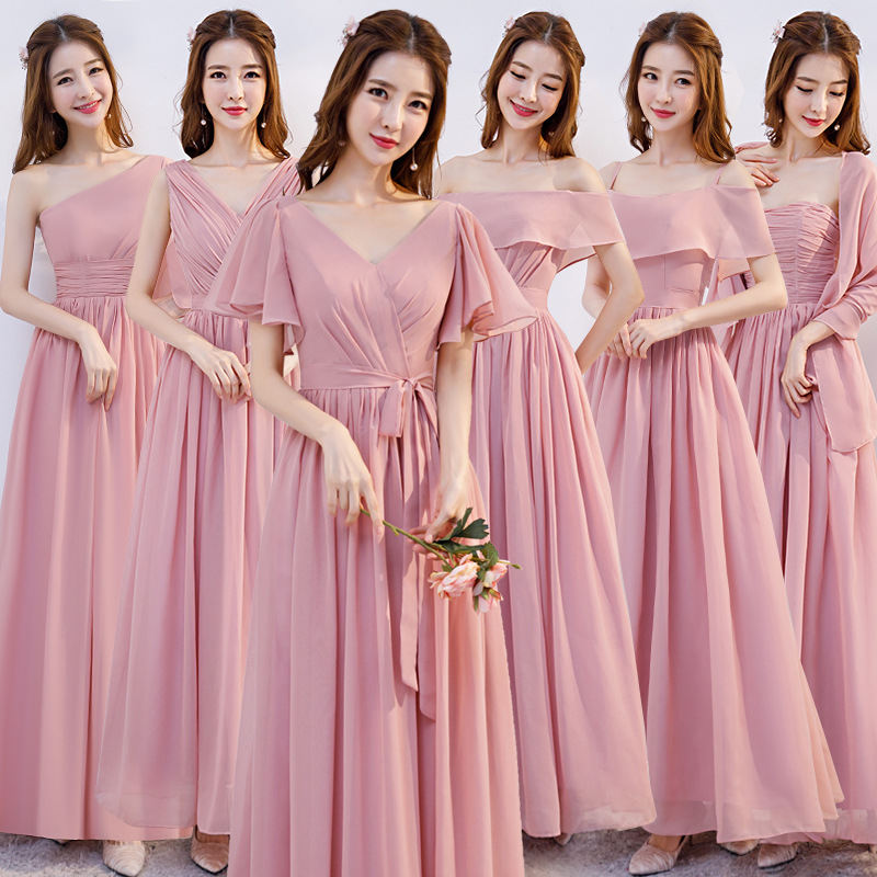 Bridesmaid Clothing Long 2019 New Style Pink Chiffon Bridesmaid Formal Dress Host Dinner Formal Dress Bridesmaid Mission Formal