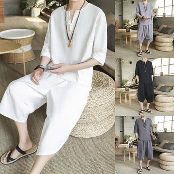 מסורתי סיני סגנון קיץ גברים פשתן טאנג חליפה קצר שרוול חולצה + בגדי מכנסיים סט מזרחי קונג פו תחפושות