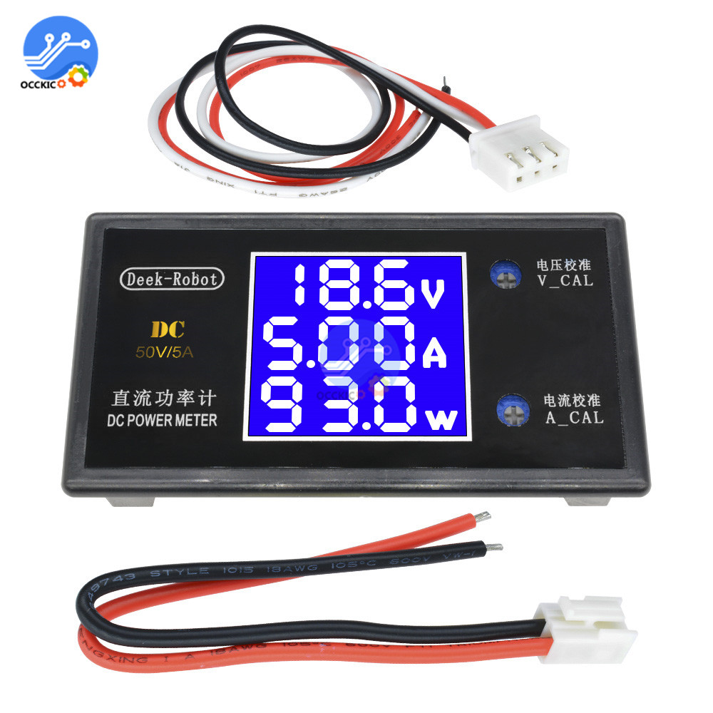 Multifunction LCD Digital DC Power Meter Voltmeter Ammeter Wattmeter Current Power Voltage Meter Measurement 0-50V 0-5A 0-250W