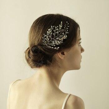 O857 Leaf wedding custom crystal bridal headpiece rhinestones bride hairpiece wedding accessories for festival недорого