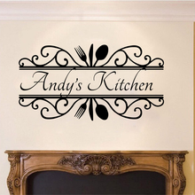 Custom Name Kitchen Cooker Wall Sticker Dinning Room Personalized Cuision Cooking Decal Vinyl Decor LW226