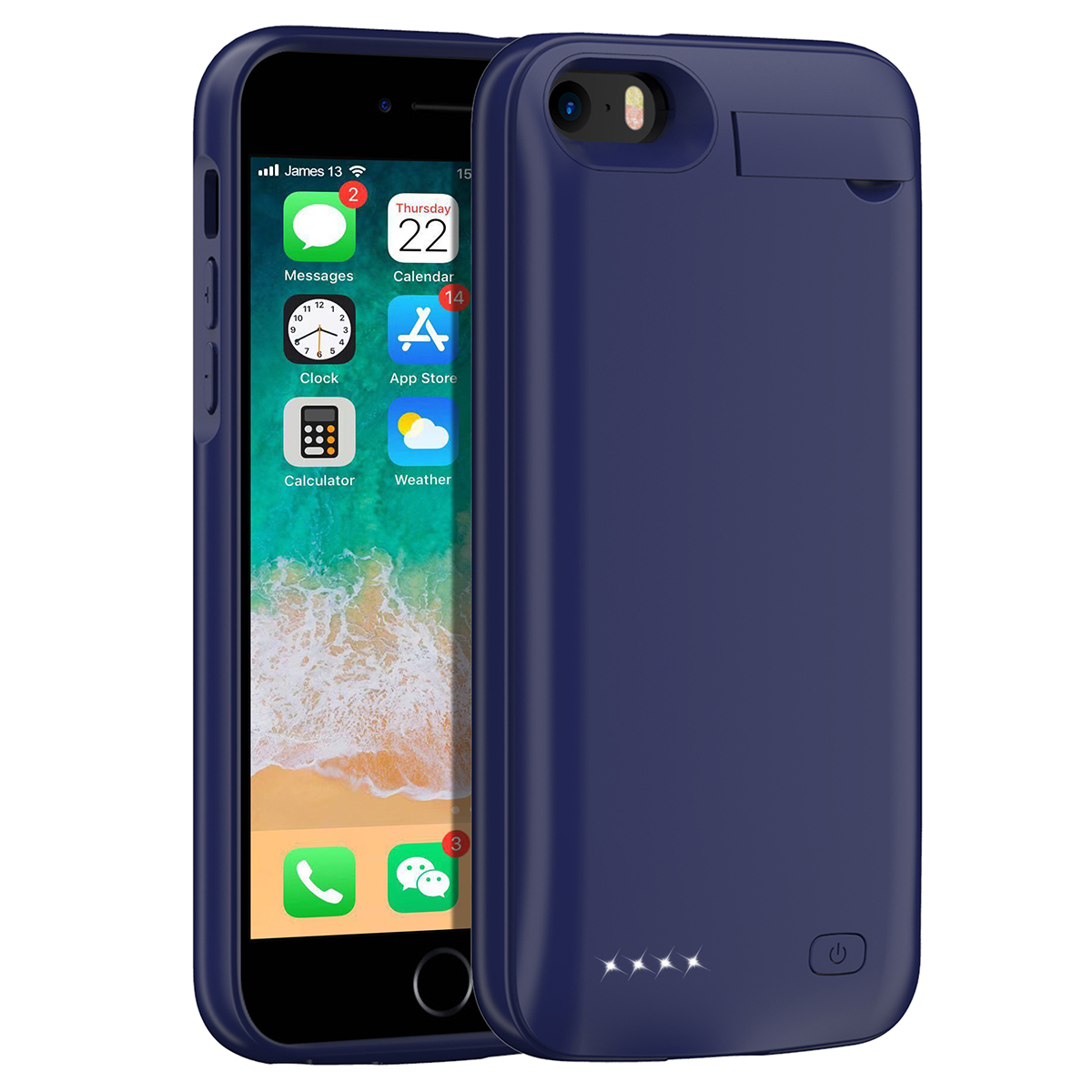 Для iPhone SE 5SE 5 5S 4500mAh аккумуляторная Внешняя батарея резервного копирования защитный чехол зарядное устройство крышка с Скрытая скобка - Цвет: Синий