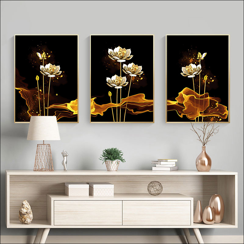 painting by numbers adwall frame DIY frame Hand painting  Wall decoration paintin still life golden flowers Hand painting Lotus-2