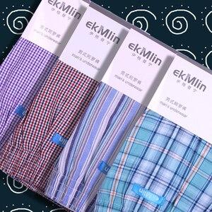 Image 1 - ¡Alta calidad! EkMlin Calzoncillos Bóxer de algodón tejido para hombre, 100% a cuadros de hilo peinado, transpirables, holgados, 4 unidades