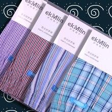 Hohe Qualität! EkMlin Marke 4 Pack männer Boxer Shorts Woven Baumwolle 100% Plaid 50s Gekämmte garn männlichen Unterhose Lose atmungsaktiv