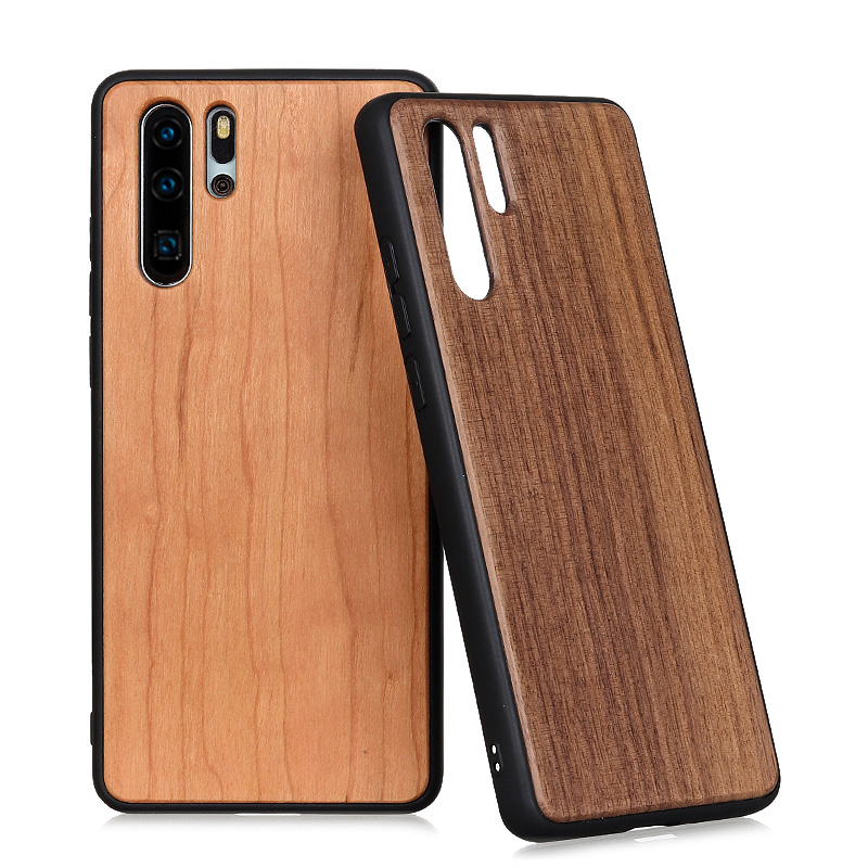 100% Natural Green Bamboo Wooden Hard Phone Cover For Huawei P30 Pro / P30 P40 Real Walnut Rosewood Cherry Wood Skin Cases