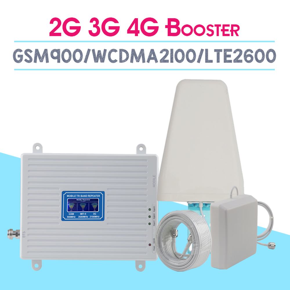 2G 3G 4G 2600 Tri Band Cellular Amplifier 2G GSM 900mhz Signal Repeater 70dB 3G WCDMA 2100mhz 4G LTE 2600mhz Moblie Booster Set