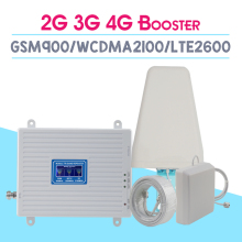 2G 3G 4G 2600 Tri Band Cellular Amplifier GSM 900mhz signal Repeater 70dB WCDMA 2100mhz LTE 2600mhz Moblie Booster Set