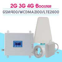 2G 3G 4G 2600 Tri banda celular amplificador 2G GSM 900mhz repetidor de señal de 70dB 3G WCDMA 2100mhz 4G LTE 2600mhz móvil de conjunto