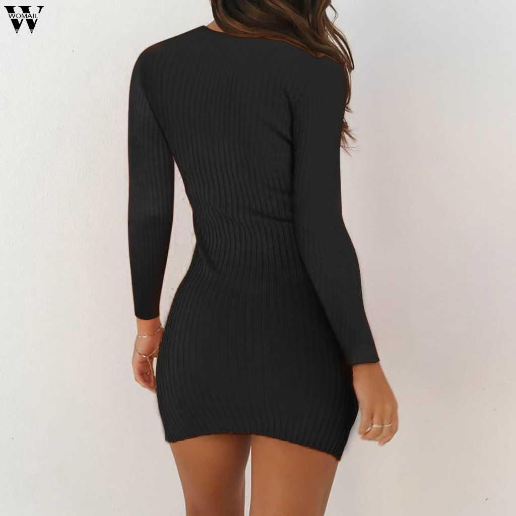الخريف الشتاء بلون محبوك سترة اللباس المرأة الأزياء غمد س الرقبة البلوز الإناث محبوك اللباس Vestidos Feminino 8.27