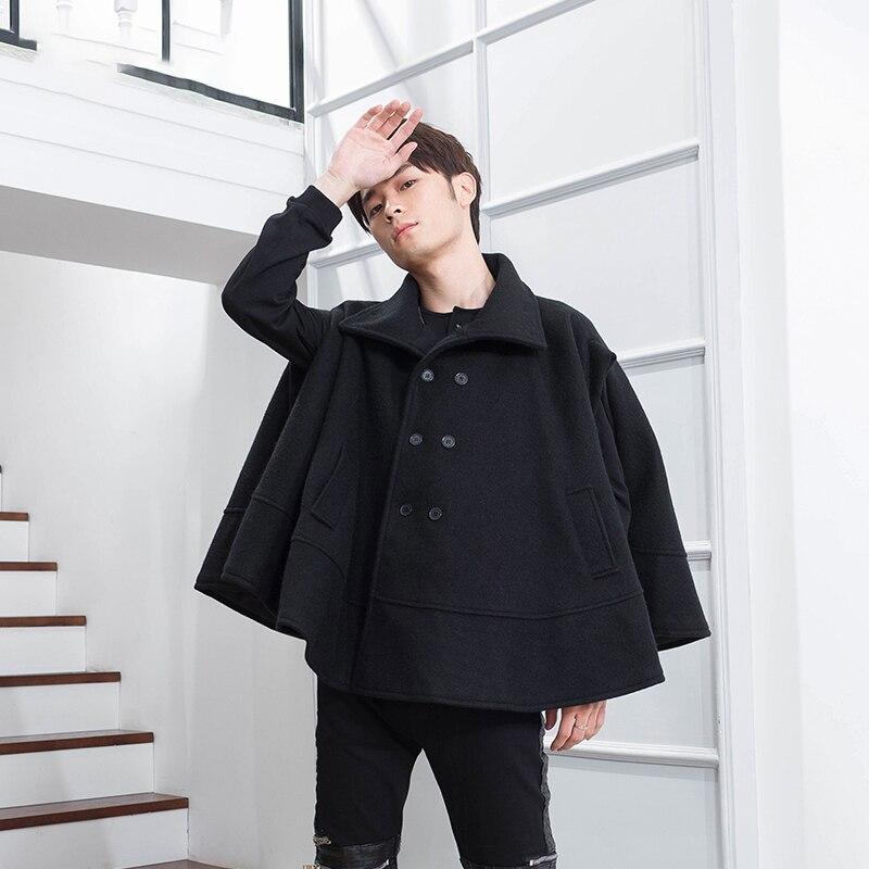 Short double-breasted Lapel winter tide men's coat round pendulum loose bat sleeve coat sleeveless hip-hop nightclub trend