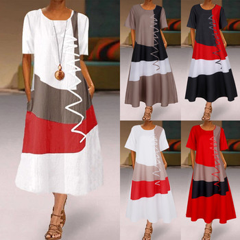 long summer dresses for women casual Plus Size Daily Short Sleeve Vintage Patchwork Bohemian O