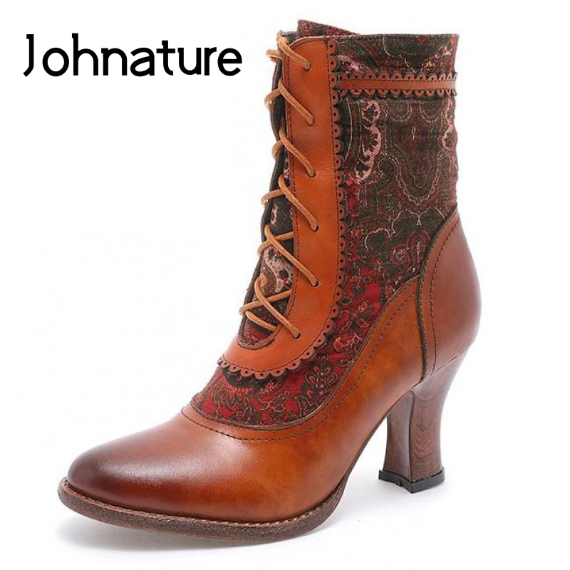Johnature Short Plush Women Boots 2021 New Women Shoes Genuine Leather Embroidery Cloth Patchwork Zip Cross-tied Platform Boots