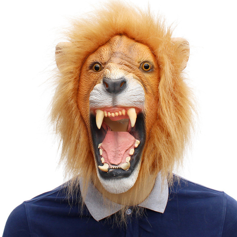 Halloween Props Adult Angry Lion Head Masks Animal Full Latex Masquerade Birthday Party Face Mask Fancy Dress