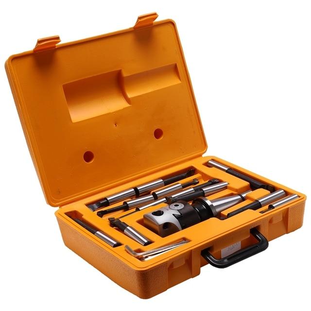 Absf NT40/ISO40 Taper, f1 18 75Mm Boorkop Met NT40/ISO40 Schacht En 12 Stuks 18Mm Boring Bars, boorkop Set