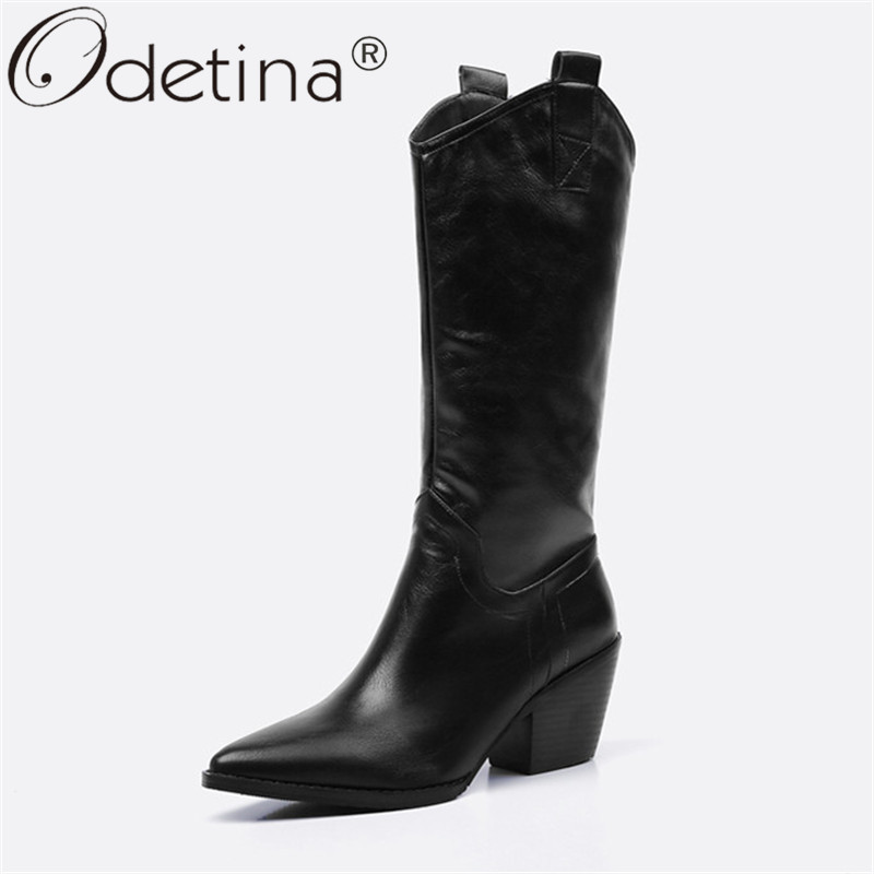 Odetina Women Fashion Block Chunky High Heel Casual Pull On Mid Calf Boots Classic Winter Autumn Tabs Boots Pointed Toe Big Size