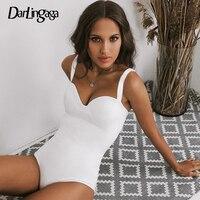 Darlingaga Tiefe V-ausschnitt Mode Schwarz Body Frauen Elegante Sexy Körper Spaghetti Strap Bodycon Overall Strampler 2020 Sommer Kurze