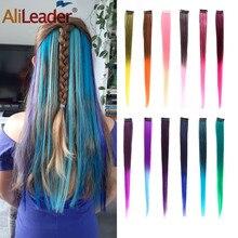 AliLeader 50 СМ Длинные Прямые 2 дюймов ширина 1 Клип 1 Шт. клип В Наращивание Волос Синтетический Поддельные Части Волос Ombre Два Тона цвет