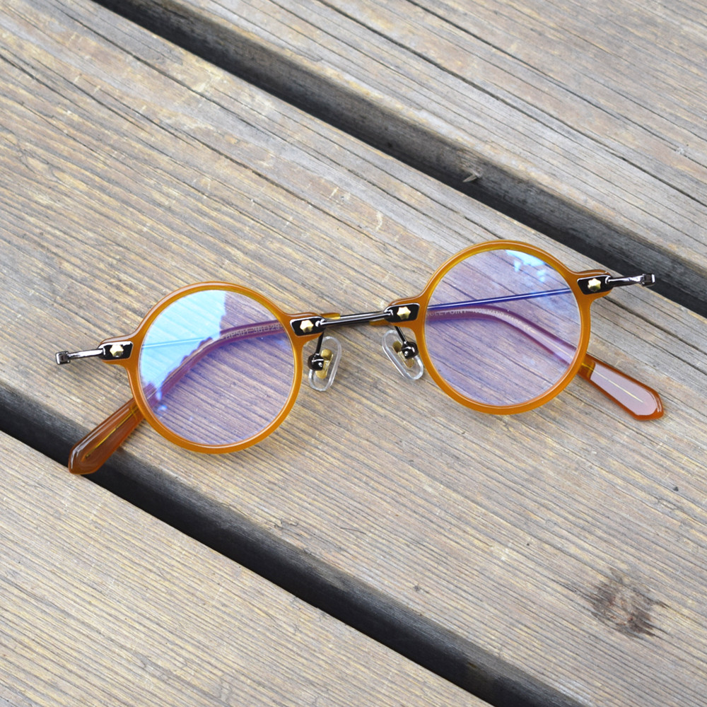 BETSION Acetate Small Round Anti Blue Light Blocking Glasses Frame for Men Women Glasses Gaming Computer Eyewear Optical Myopia