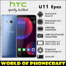 HTC U11 Eyes Snapdragon 652 Octa Core 4GB RAM 64GB ROM 12MP Camera NFC Nano Dual SIM Rapid Charger 3.0 smartphone(China)
