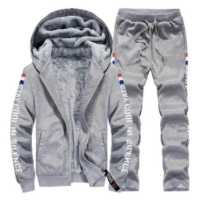 남자 두꺼운 따뜻한 겨울 새로운 캐주얼 Tracksuit 자 켓 + 바지 2PCS 남성 두건 된 스웨터 지퍼 카디 건 양 털 망 세트 2020 설정