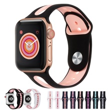 New Silicone Sports Band for Apple Watch 5 4 3 2 1 42MM 38MM rubber strap Watchband  bands for Iwatch 5 4 3 40mm 44mm