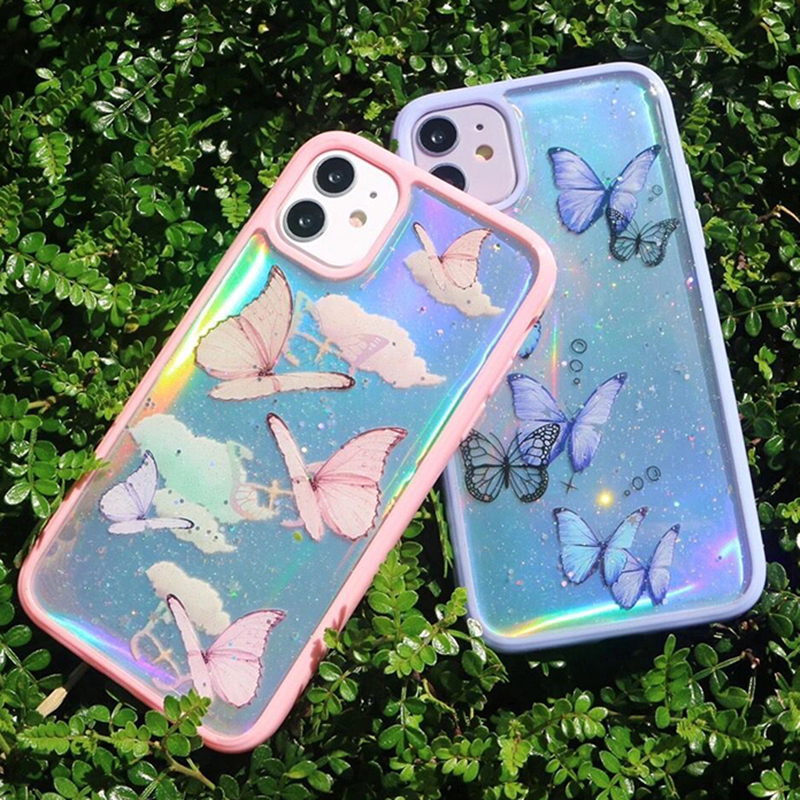 3D Butterfly Laser Bumper Phone Case For Iphone 12 Mini 11 Pro Max 12 Pro 7 8 Plus X XS XR Transparent Clear Silicone Soft Cover
