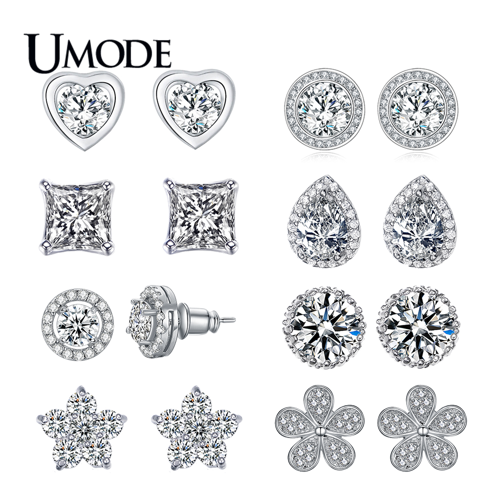 UMODE Moda CZ Crystal Heart Star Stud Pendientes para Mujer Oro Blanco Color Flor Party Jewelry Hot Zircon Pendientes AUE0013