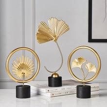 Moderne décoration de la maison accessoires de bureau pour salon pièces décor à la maison statues feuilles Statue miniature ornements en métal