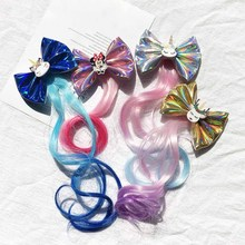 New Cute Pigtails Hair Clip for Girls Handmade Bowknot Hairpins Kids Colorful Long Braids Bows Children Accessories