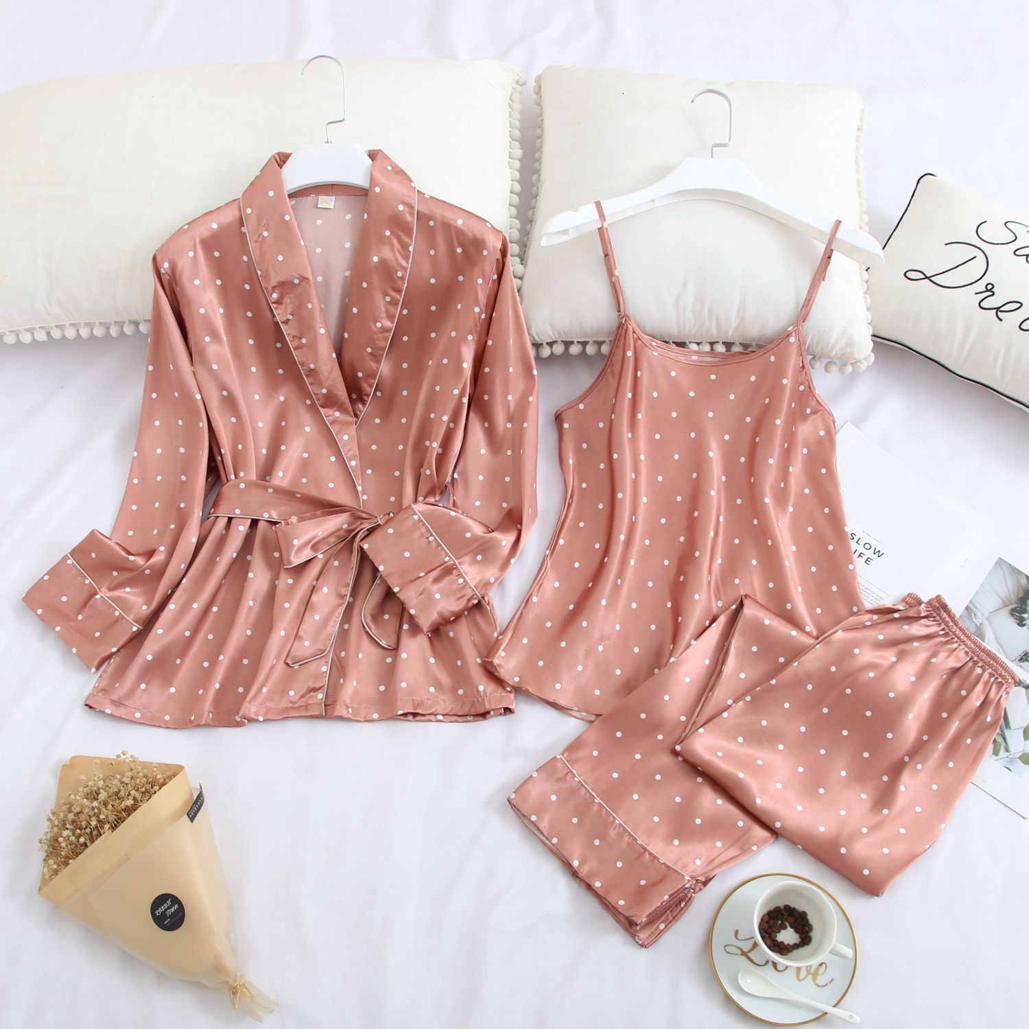 Autumn New Long Sleeve Pajamas 3 Pcs Thin Ice Silk  Sexy Spaghetti Strap Cardigan Trousers Set Sleepwear