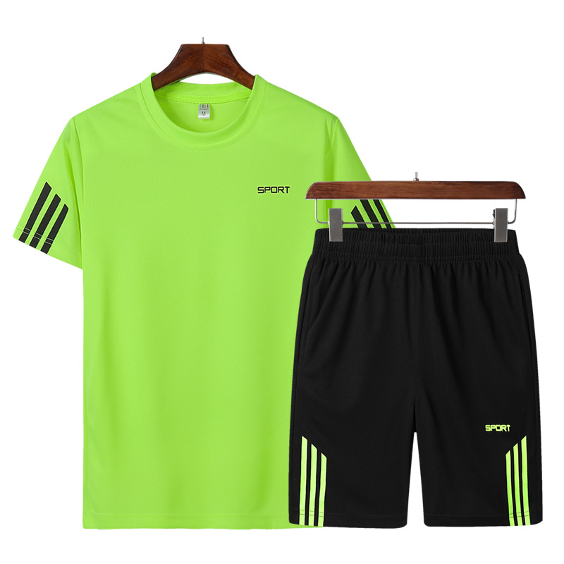 Summer Sports Set MEN'S Short-sleeved T-shirt Morning Run Quick-Dry Athletic Clothing Loose-Fit Short Shorts Men's Running Fitne
