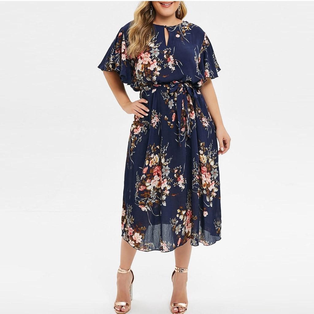 Женское летнее платье с цветочным принтом, Повседневное платье с круглым вырезом и коротким рукавом, пляжный сарафан большого размера M140 #