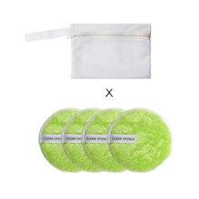 Очищающая пудра пуховка Тональная основа для снятия макияжа с сумкой для хранения круглая губка ленивая мягкая смесь хлопка Двусторонняя моющаяся для лица