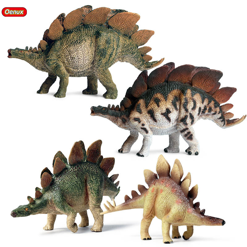 Oenux Classic Jurassic Stegosaurus Action Figure Dinosaur Park Animals Model PVC High Quality Educational Toy For Kids Gift