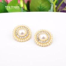 King Dragon Rhinestone Pearl Buttons For Clothes Shank Back 22MM 10PCS/Lot Gold Color KD587 детский аксессуар для волос king dragon 1pcs lot hb16