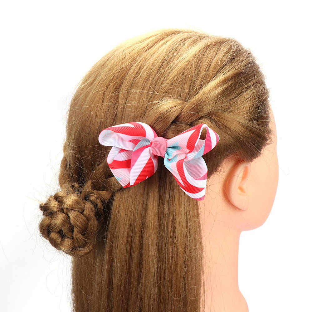 12 Màu Sắc Trẻ Em Bé Gái Lớn Ruy Băng Tóc Kẹp Cột Tóc Boutique Cá Sấu Grosgrain Hairclips Băng Phụ Kiện