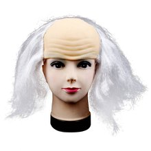 Unique Halloween Festival Accessories Wigs Bald Hair Masquerade Costume Party Funny Cosplay Prop Black(China)
