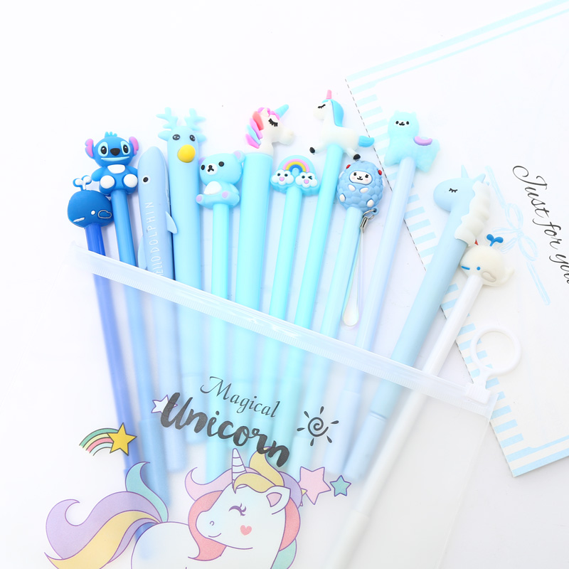 Mixing 12pcs Set Gel Pen Kawaii Creative Cactus Novelty Cute Signature Ink Pens For Office School Stationary With Pencil Bag