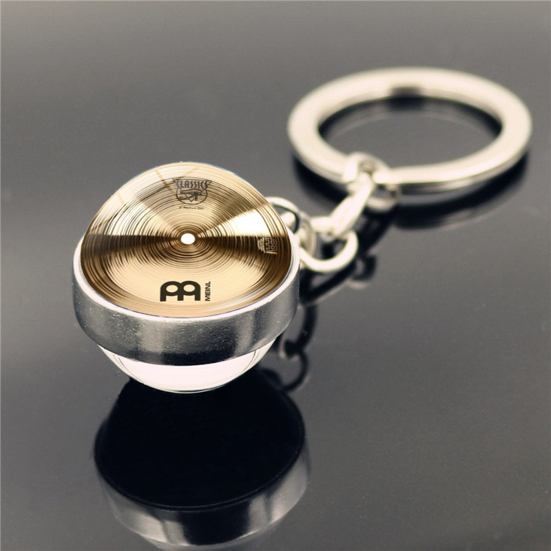 Drummer Cymbals Keyring Keychain DJ Drummer Cymbals Jewelry  Fashion Double Side Glass Ball Key Chain Holder For Men Women Gifts